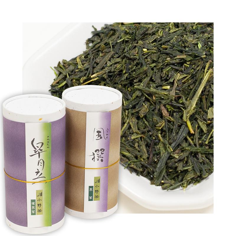 小野茶ギフト「上煎茶 皐月立つ」「煎茶 風撰」2缶各120g画像1