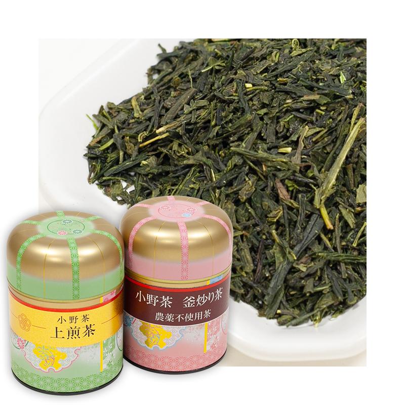 小野茶ギフト「上煎茶100g」「釜炒り茶50g」2缶画像1