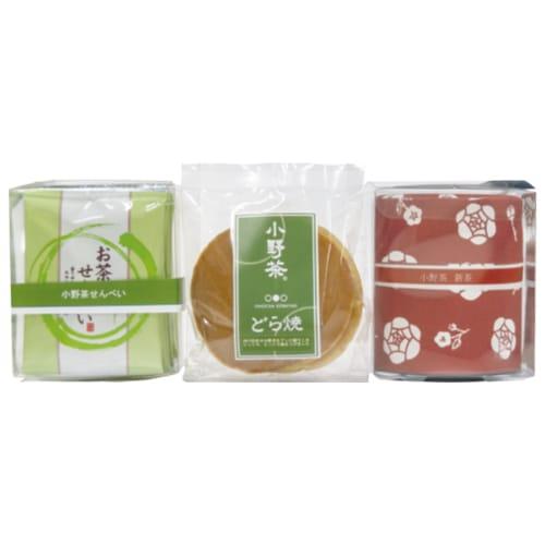 E:小野茶新茶 70g×1缶、小野茶せんべい 8枚、小野茶どらやき(白小豆) 3個画像1